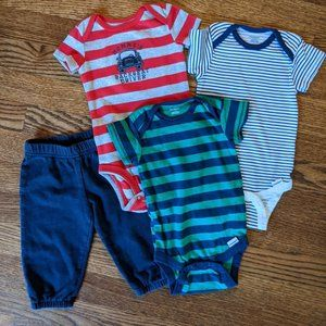 6 Month Navy Stripes Onesies and Pants